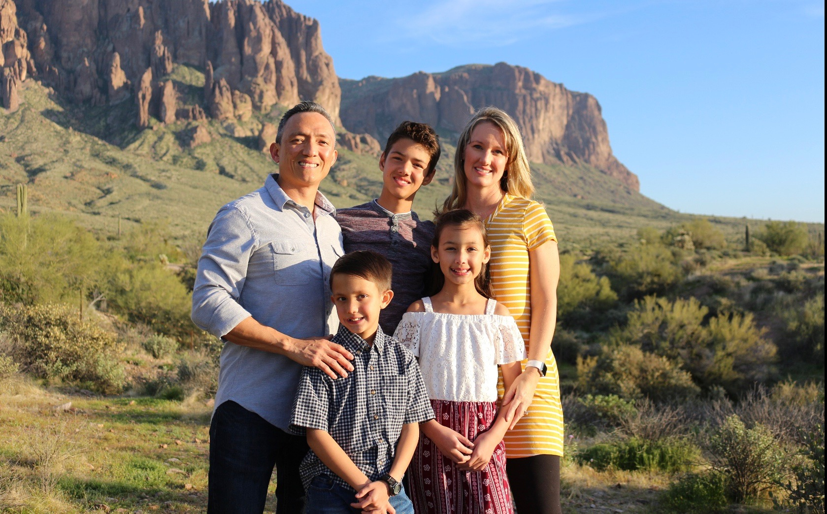 Leah Ruiz, family in front of moutain