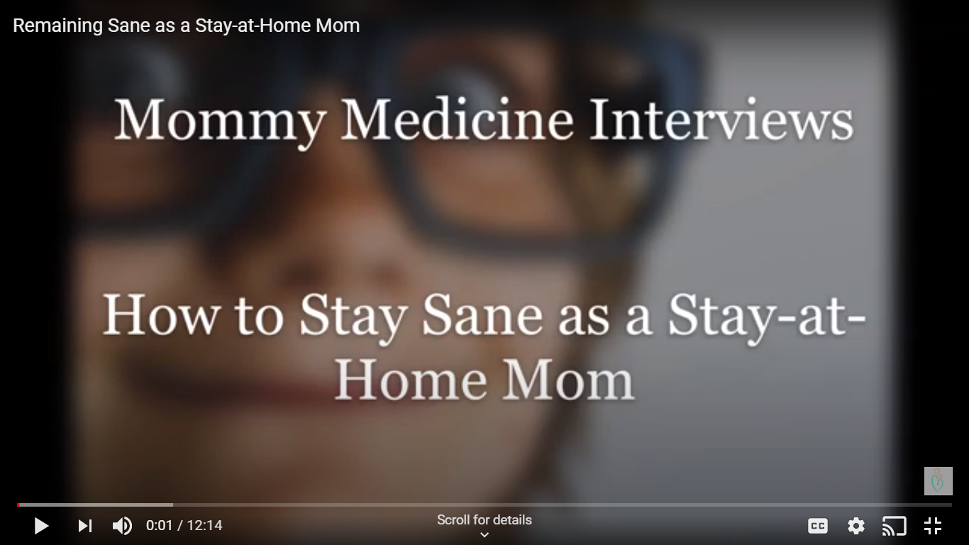 sanity and stay at home mom, girl with glasses as screen for video